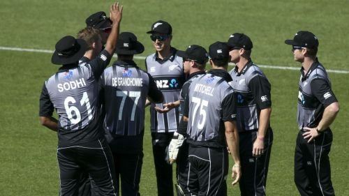 New Zealand celebrate a wicket against England