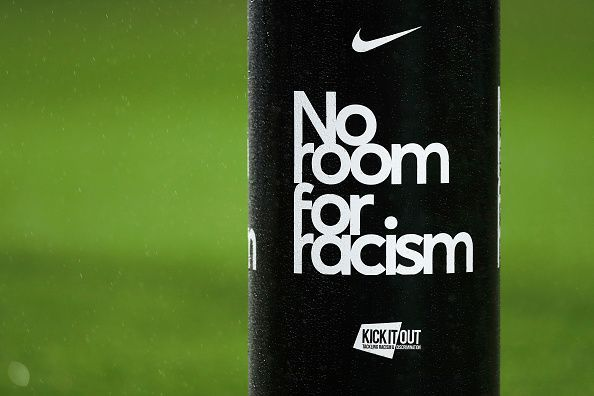 An anti-racism banner