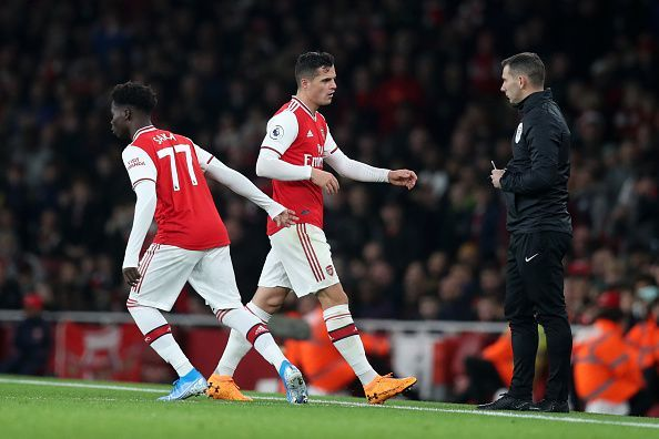 Granit Xhaka is subbed off