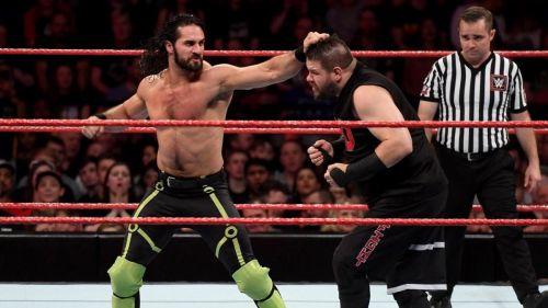 Kevin Owens facing Seth Rollins