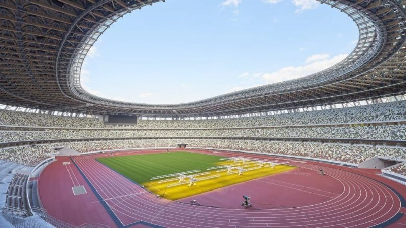 The New National Stadium has gotten ready ahead of time for the opening ceremony of the Olympics