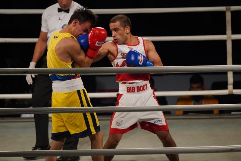 Amit Panghal (In white) in action for Gujarat Giants