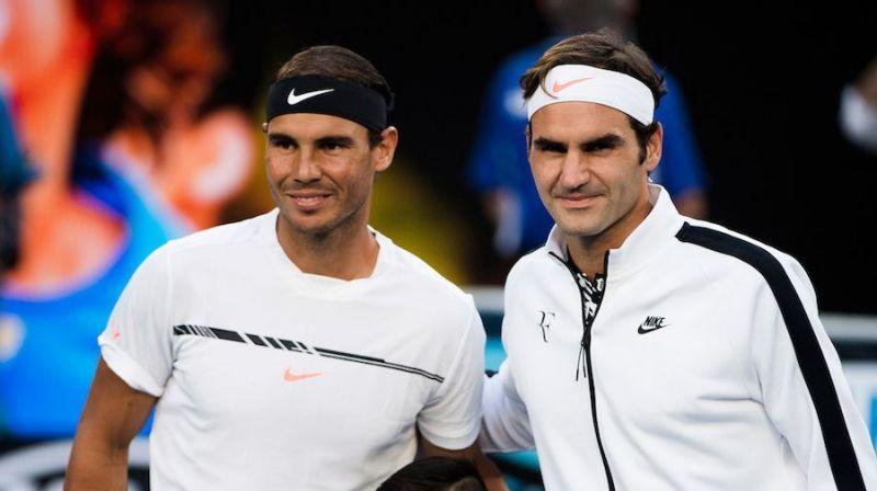 Nadal (left) and Federer