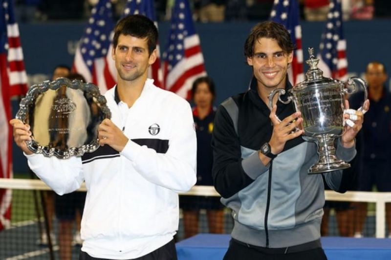 Novak Djokovic (left) and Nadal pose after the 2010 US Open final