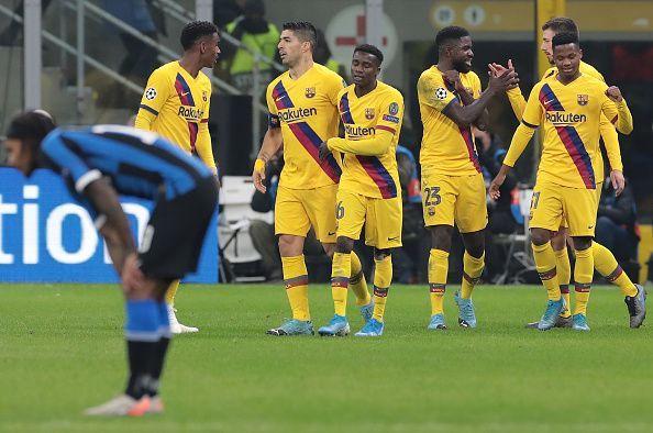 Barcelona won 2-1 at the San Siro