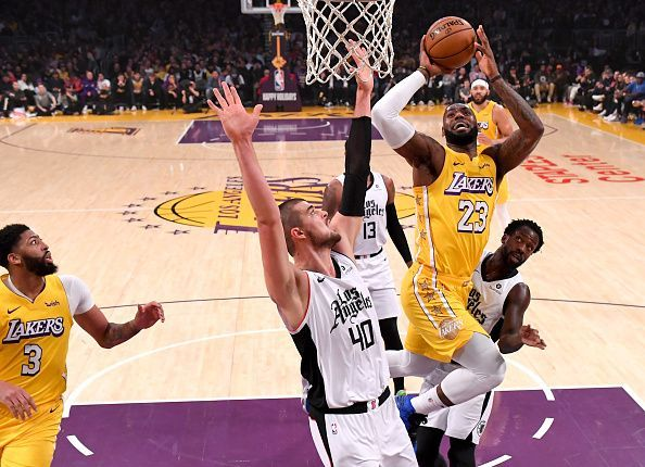 LeBron James in action during the Lakers