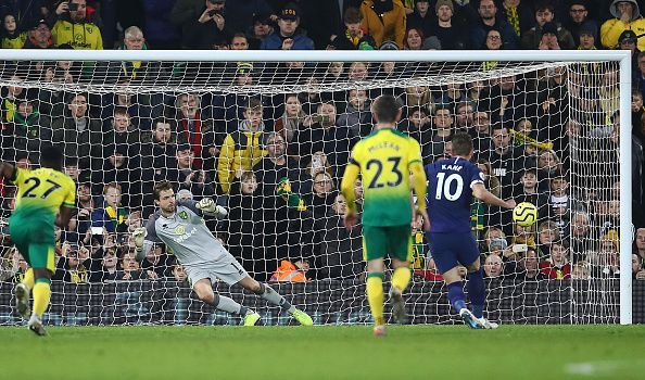 Harry Kane scores the equalising goal versus Norwich City