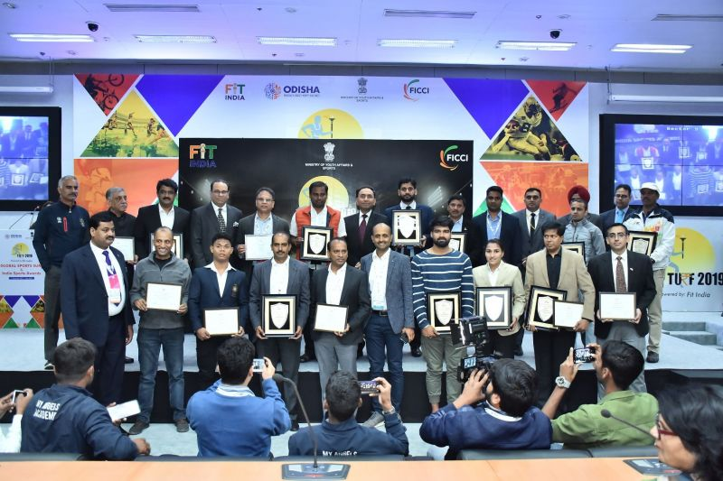 The Winners of FICCI India Sports Awards 2019 pose for a picture at FICCI Federation House on Wednesday evening.