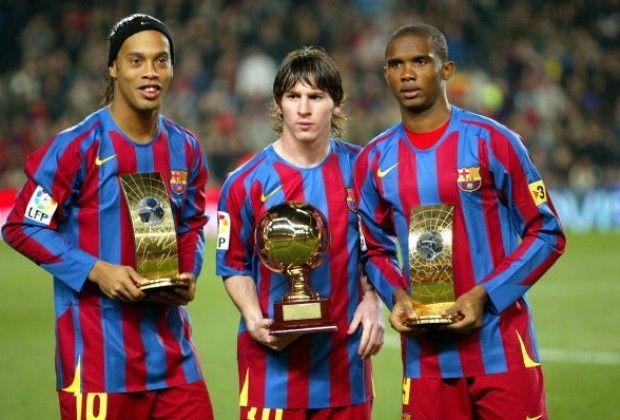 Ronaldinho, Lionel Messi, and Samuel Eto