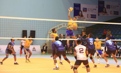 India's Dipesh Sinha with a spike attempt against Sri Lanka.