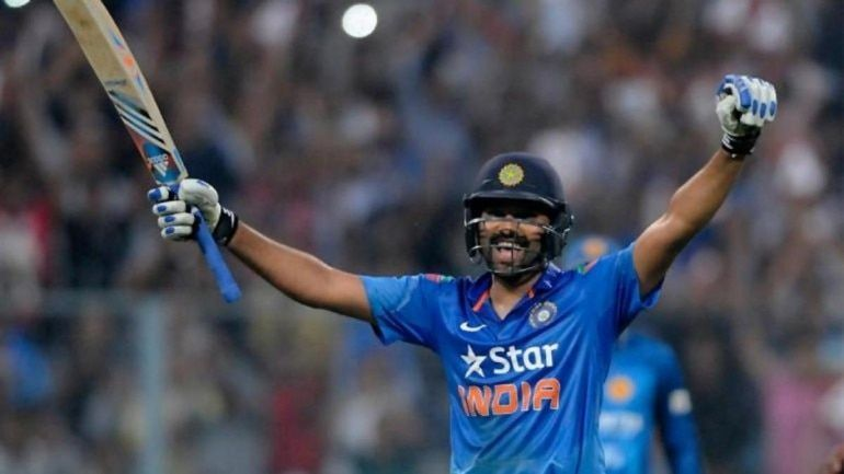 Rohit Sharma is pictured celebrating his double hundred