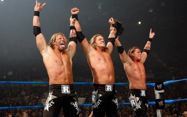 Zack Ryder(left) and Curt Hawkins(right) with Edge (center) during their time as The Edgeheads