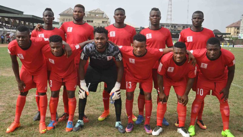 Abia Warriors players line up before a match