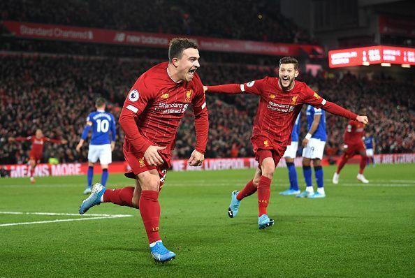 Shaqiri celebrates his goal against Everton
