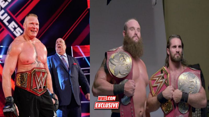 Lesnar, Strowman, and Rollins