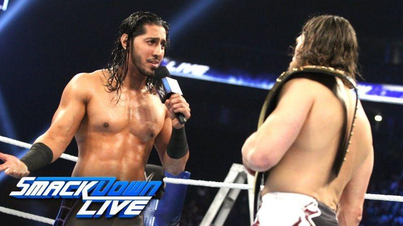 Mustafa Ali confronting then-WWE Champion Daniel Bryan on December 11, 2018