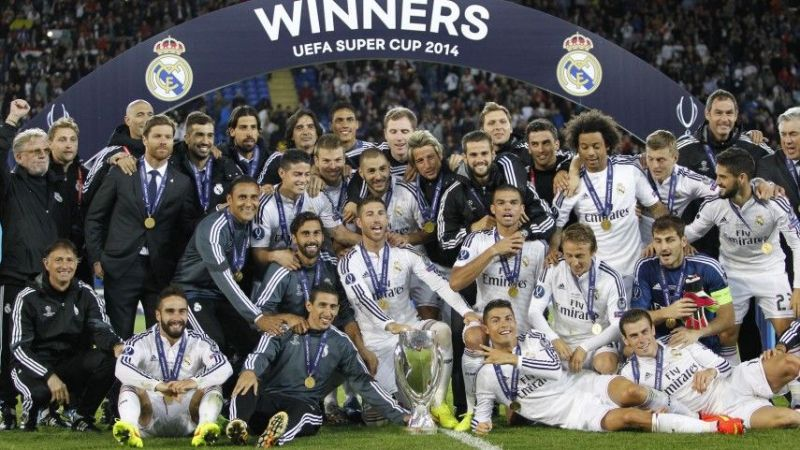 Real Madrid celebrate their victory in the 2014 UEFA Super Cup final