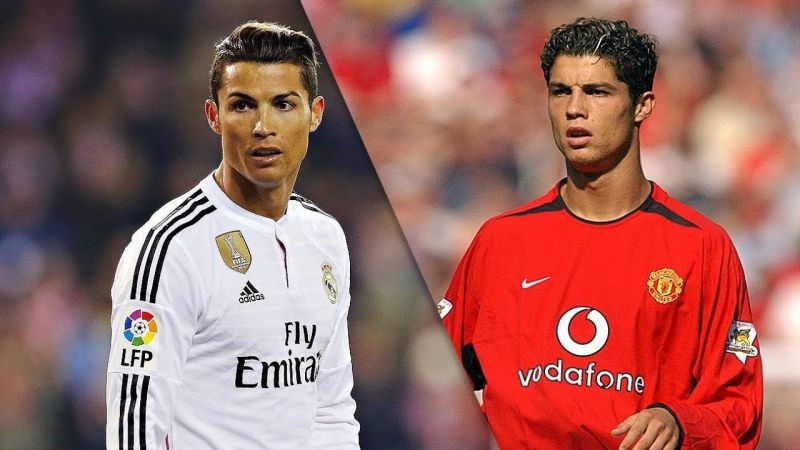Cristiano Ronaldo (left) in a Real Madrid and Manchester United (right) jersey