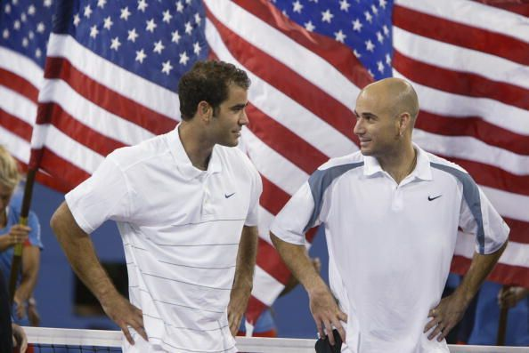Pete Sampras (L) and Andre Agassi