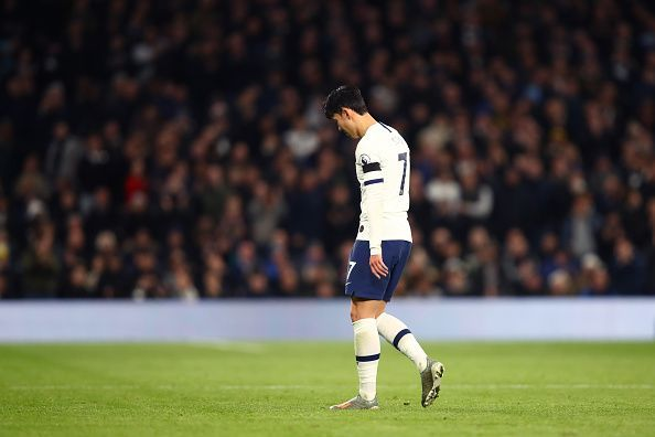 Son Heung Min remains on the sidelines following his red card against Chelsea
