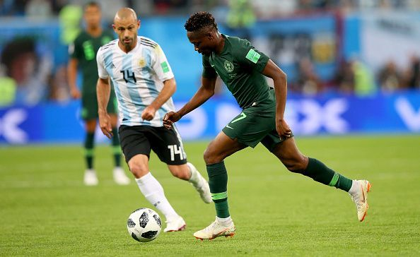 Ahmed Musa in action for the Super Eagles