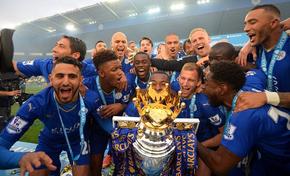 Leicester City players with the Premier League Trophy
