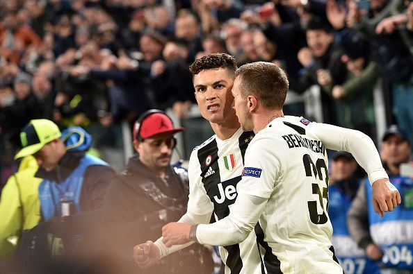 Ronaldo after scoring against Atletico Madrid in the Champions League Round of 16: Second Leg