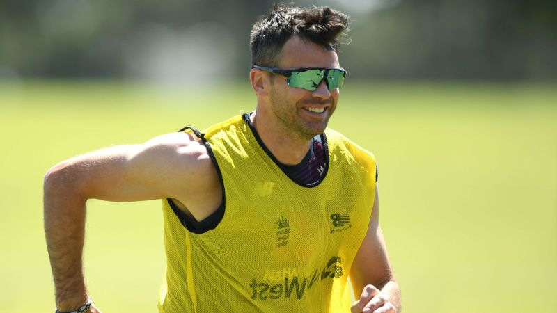 James Anderson training with the England squad in South Africa.