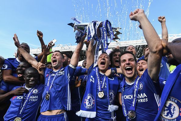 Chelsea players jubiliant after lifting the Premier League