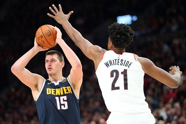 Jokic in his last game against the Blazers