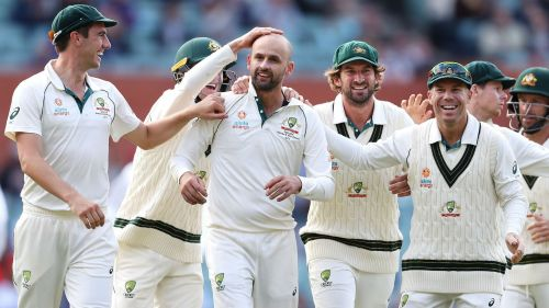 Australia celebrate one of Nathan Lyon's five wickets in the second innings