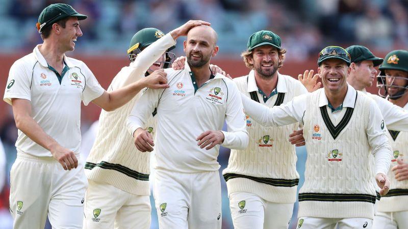 Australia celebrate one of Nathan Lyon