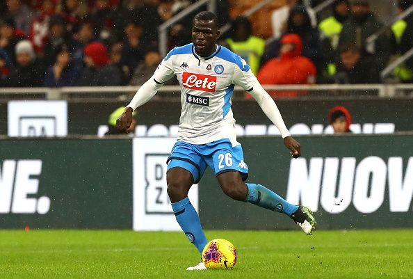 Kalidou Koulibaly in action for Napoli in the Serie A this season