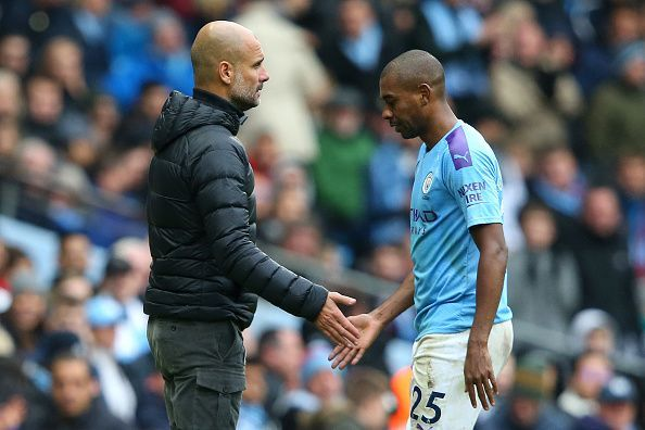 Fernandinho is the only Manchester City centre-back who has stepped up this season