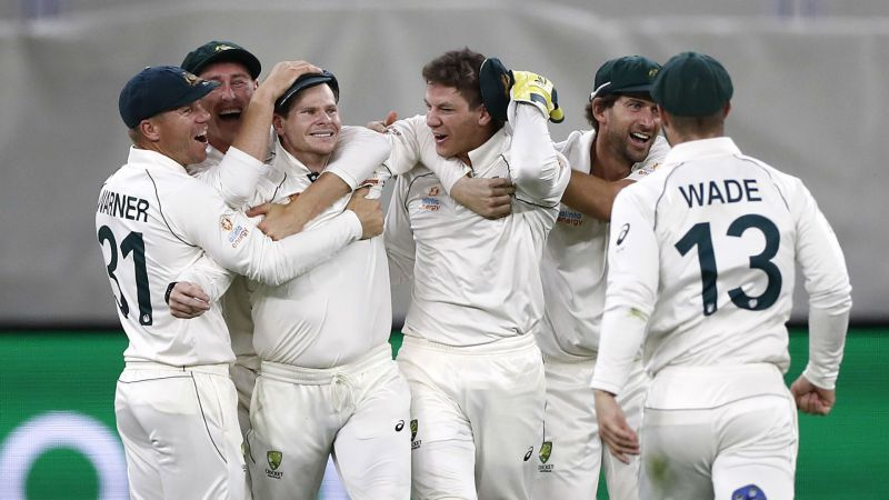 Steve Smith celebrates his catch