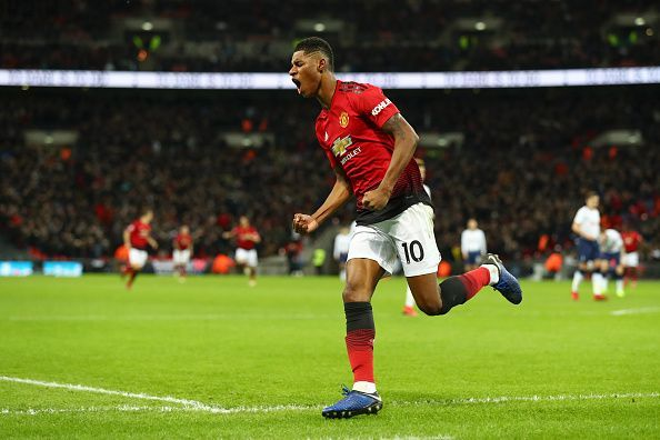 Rashford after scoring against Tottenham Hotspur