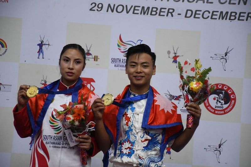 Nepal won the gold medal in Wushu