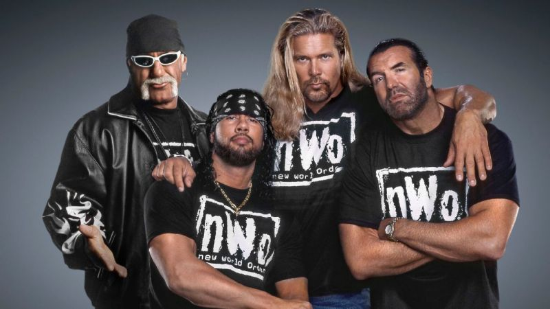 From right to left: Hulk Hogan, X-Pac, Kevin Nash, and Scott Hall