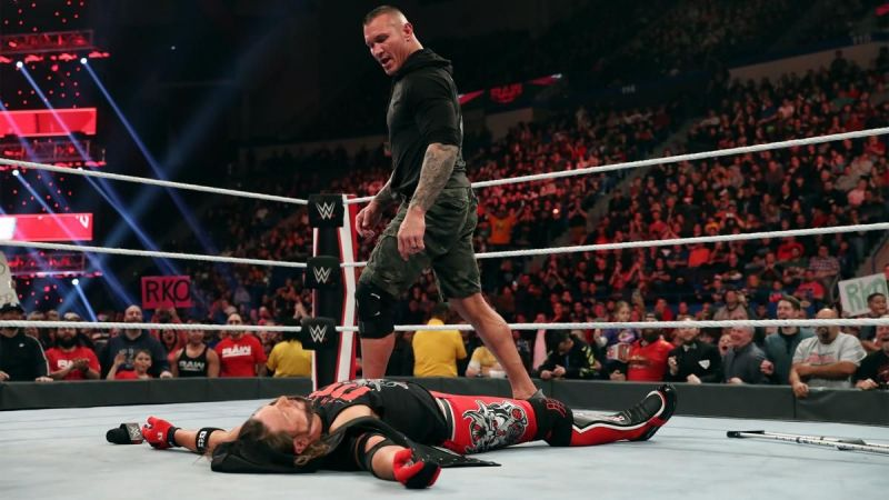 Randy Orton standing tall after nailing AJ Styles with the RKO