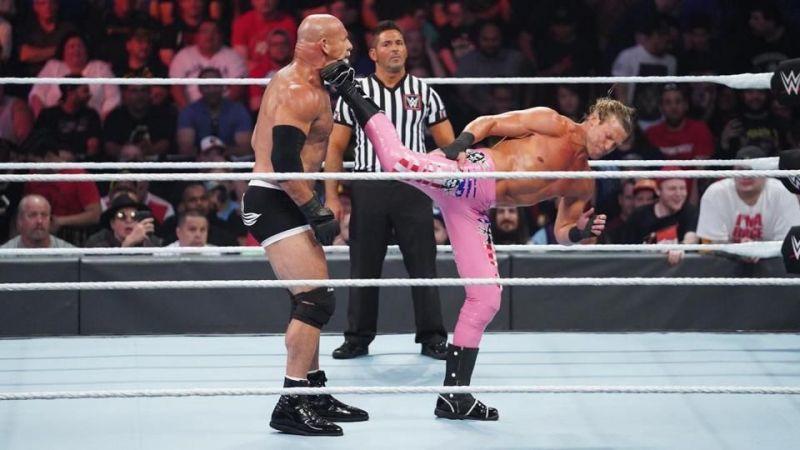 Dolph Ziggler superkicking Goldberg in their match at SummerSlam 2019