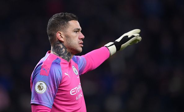 Ederson Moraes in action for Manchester City