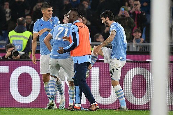Lazio players celebrate