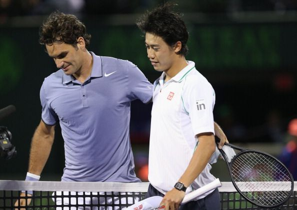 Kei Nishikori after defeated Roger Federer in Miami