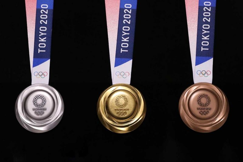 The design of the three medals to be given at the Tokyo Olympics