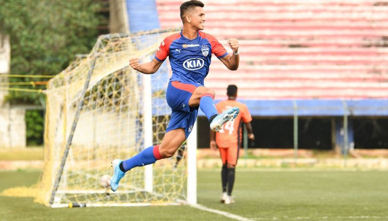 Bengaluru FC midfielder Ajay Chhetri celebrates scoring a goal against South United FC in the BDFA Super Division League, at the Bengaluru Football Stadium, on Monday.