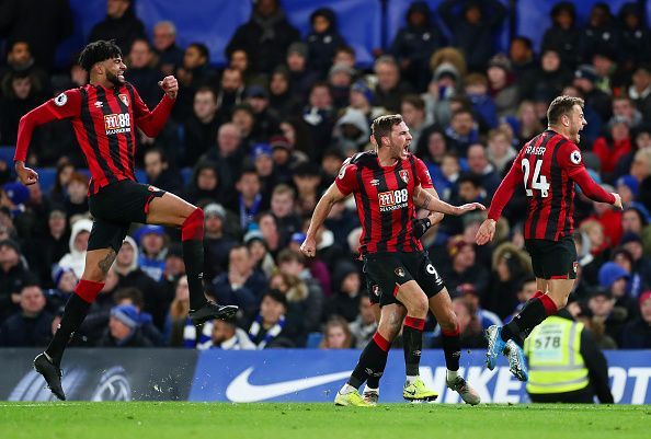 Bournemouth players celebrate with goalscorer Dan Gosling after VAR review ruled his strike was a goal