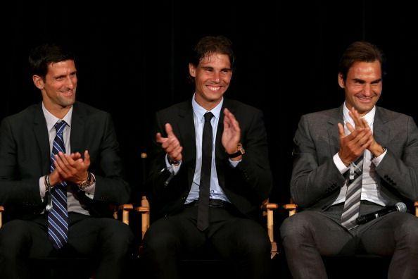 Novak Djokovic (L), Rafael Nadal and Roger Federer (R)