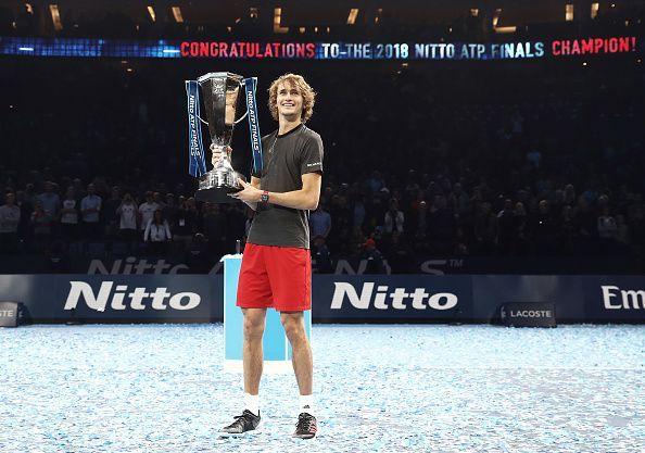 Alexander Zverev with the 2018 ATP Finals trophy