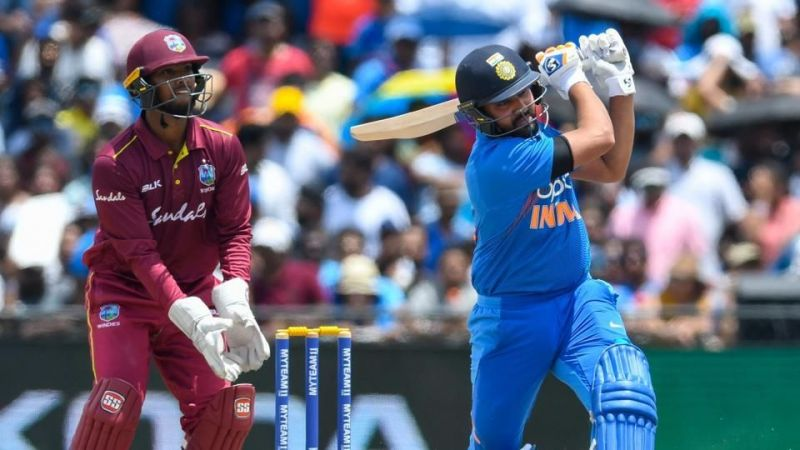 Rohit Sharma depositing a six over deep mid-wicket