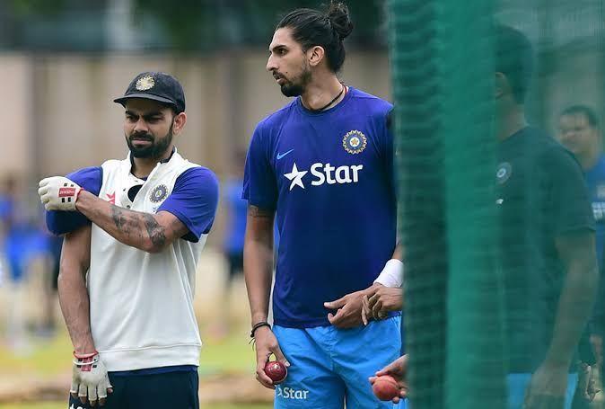 Virat Kohli with Ishant Sharma in the nets